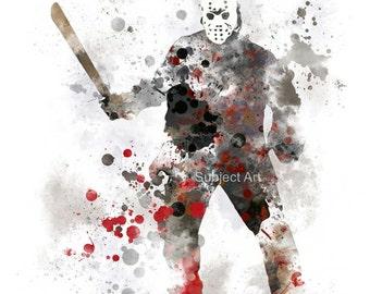 Jason Voorhees inspired ART PRINT illustration, Friday the 13th, Horror, Movie, Wall Art, Home Decor