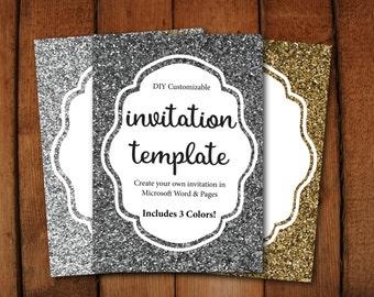 Gold Glitter Invitation // Silver Glitter Invitation // DIY editable template // Instant download