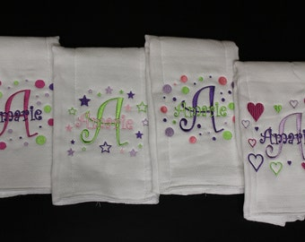 Personalized Embroidered Baby Burp Cloth 4 set Boy or Girl B111