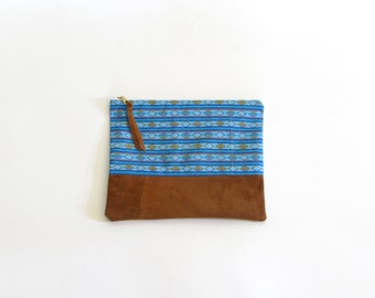 Vintage Turquoise Geo Print Cotton & Repurposed Suede Zipper Pouch Clutch, 10""