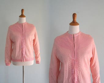50s Beaded Cardigan - Gorgeous 50s Pink Sequin Sweater - Vintage Embellished Pink Cardigan - Vintage 1950s Cardigan L