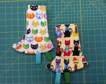 Tula Corner drool Pads, Ready to ship. Reversible with ribbon Tags. kitties and more kitties