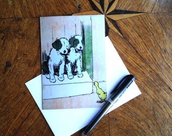 Are You Coming Out To Play. Cute Puppy & Duck Vintage Greeting Card Repro. Cecil Aldin.