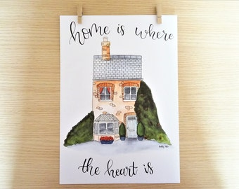 Home film-Decorative film-Home decor-home is where the heart is-watercolor-Home