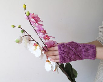Hand Knit Fingerless Gloves in Dark Lilac - Arm Warmers - Womens Seamless Knit Gloves - Winter Fashion - Ready to Ship