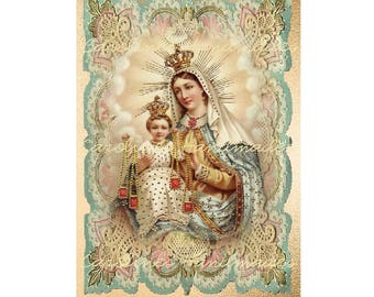 "Madonna & Child Collage #25 Cotton Fabric Quilt Block (1) @ 5X7"" on 8.5X11"" Sheet"