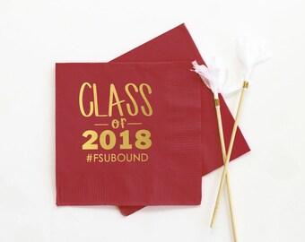 Personalized Graduation Napkins Class of 2018 Napkins Graduation Party Decorations Personalized Beverage Napkins Grad Party Cocktail Napkins