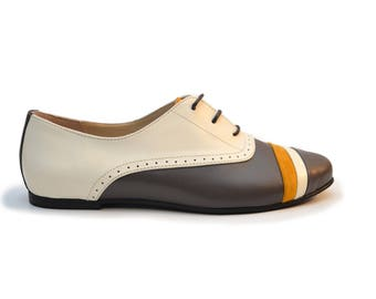Grey and Mustard Yellow Leather and Suede Oxford Shoes