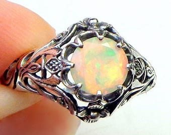 Sz 7, Welo Opal Ring, Sterling Silver Ring,Ethiopian Opal,Semi-transparent,Pastel Color Play, Lavender,Peach,Blue,Green,Ornate Ring, OOAK