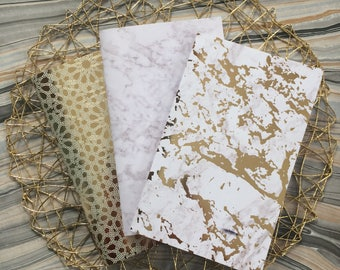Set of 3 Gold & White Marbled Paper Notebooks, Unlined