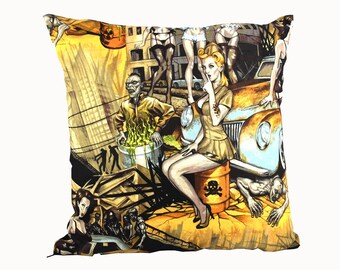 Pin-Up Zombie Cushion Cover. Undead spoof of Classic 50's Pin-Up Girl Calendar . Ideal for Man Cave and Gothic home decor.