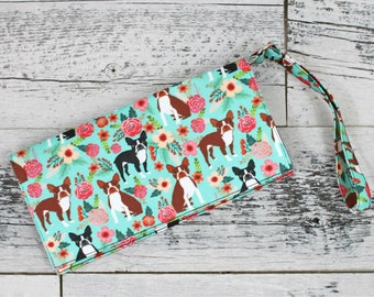 BOSTON TERRIER, Boston Terrier Gifts, Wristlet, iPhone Wristlet, Phone Wristlet, Galaxy Wristlet, Clutch Purse, Dog Bag, Phone Case, Dog Mom