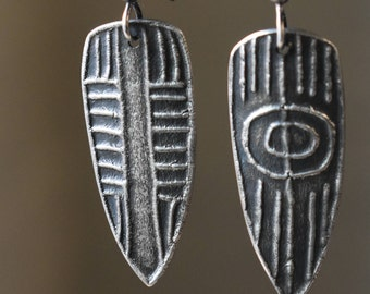 Fine Silver Earrings with Hand-drawn texture in Ancient Patterns
