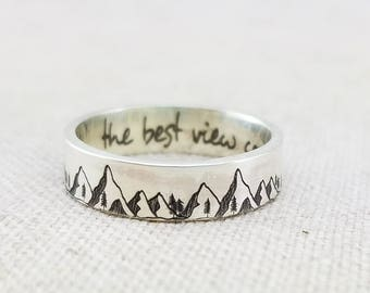 Mountain Ring - Inspiration Ring -  Outdoor Gift - Band - Inspirational Jewelry  - Jewelry - Silver Ring - Wedding Band - Wanderlust Ring