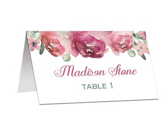 Place Cards Tented or Flat Wedding Birthday Personalized Printed - Dusty Rose Olive Branch Collection