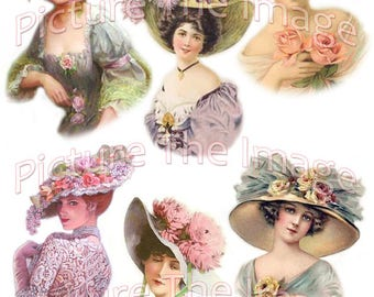 Instant Digital Download Victorian Ladies Hats Craft Projects Decoupage Greetings Cards Scrapbooking (LH1)
