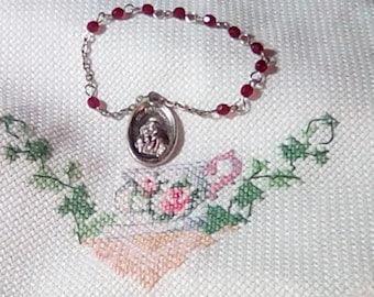 Pocket Rosary (Chaplet) From Italy Sterling Silver Pink Glass Beads