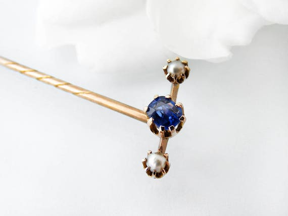 Victorian Stick Pin | Sapphire & Pearl, 9ct Gold Antique Pin | Cornflower Blue Sapphire, Natural Pearls | 9 carat Gold Lapel Pin, Cravat Pin