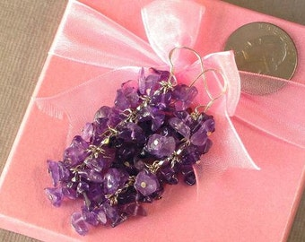 Earrings Amethyst Chip Beads Chained Dangle 925 ESAT0316
