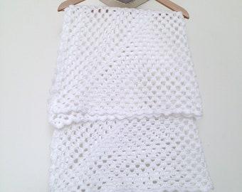 Couverture vintage bébé Granny au crochet fait-mains, 97x97 cm, blanc neige