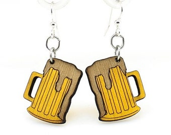 Beer Mug Earrings - Wood