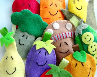Vegetable Felt Finger Puppets Sewing Pattern - PDF ePATTERN