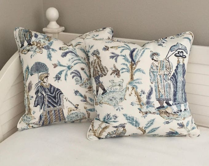 Pair of Thibaut Royale Toile in Turquoise and Navy Designer Pillow Covers with Self Welt  - Square, Euro and Sham Sizes