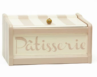 Hand Painted Vintage Wood Bread Box, Kitchen Storage, White, Beige, Stencil French Word, Patisserie