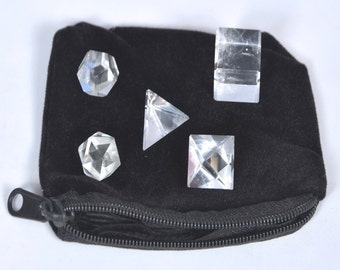 Wow A++ Crystal Quartz 5 Stones Sacred Geometry Sets Gemstone Platonic Solid