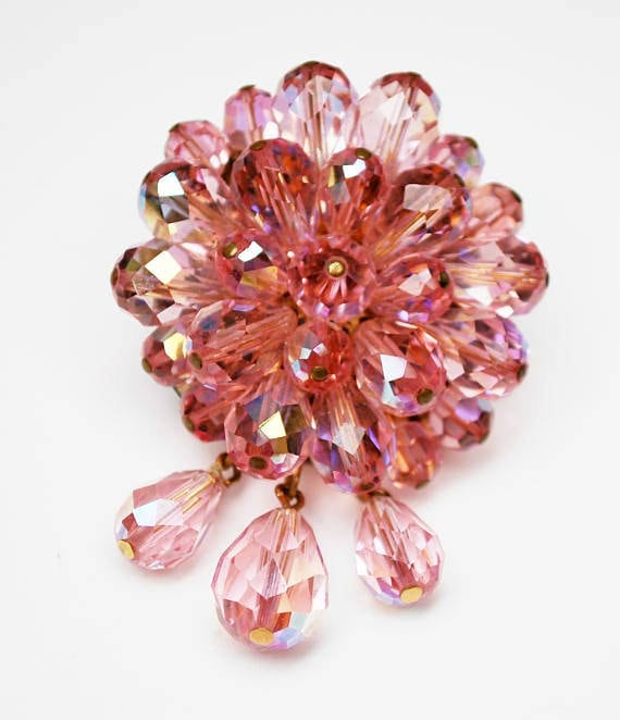 Pink Crystal Dangle  Brooch  cluster Bead Facet cut glass  round drop  dangle pin