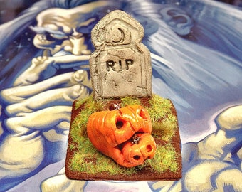 Dollhouse miniature, Welcome Jack, Halloween pumpkins graveyard headstone, polymer clay, 1.12 scale, garden decor, horror roombox ooak