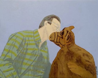 The Kiss - Willie and Alf - 80s alien wall art