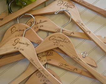 Personalized Hangers for Bridesmaids Bridal Party Hangers for Wedding Day Accessories for Bridal Party Wooden Dress Hanger, Wedding Decor