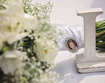 memory charm for wedding bouquet, in memory of dad, wedding bouquet photo charm, bouquet photo charm, photo charm, wedding memorial charm