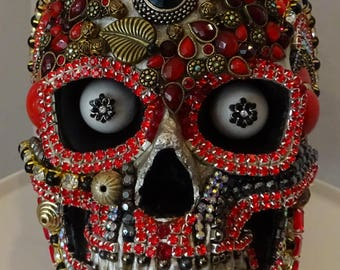 A One Of A Kind Jeweled Skull Art Piece BY Kathi Woodard