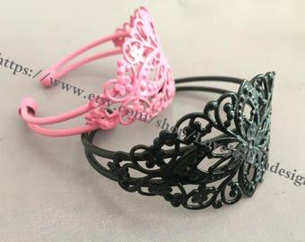 2pieces black & pink adjustable Bangle Bracelet Blank (#0474)