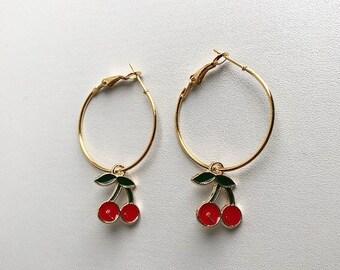 Handmade Red Cherry Gold Hoop Earrings