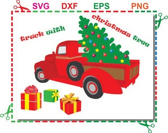truck with christmas tree svg, christmas red truck clip art, svg files For Silhouette Studio, Cricut Design Space - Instant Download