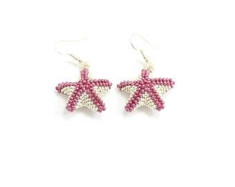 Beaded Starfish Earrings - Seed Bead Jewelry - Marine Life Earrings - Beadwork Jewelry - Ocean Beach Earrings
