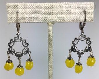 yellow opal glass chandelier earrings
