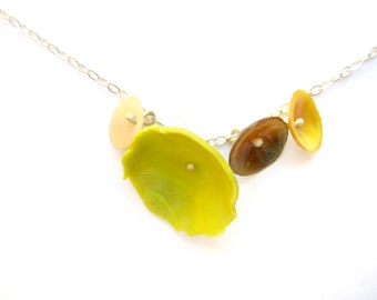 Flower Necklace Green Yellow Floral Necklace Sterling Silver Necklace Handmade Jewelry One Of A Kind Necklace Modern Jewelry Abstract Floral