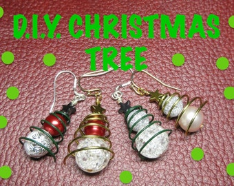 DIY Christmas Tree Earrings Kit - Gold and Silver