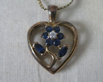 Sapphire Blue Heart Flower Gold Sterling Necklace Vermeil Vintage 925 Silver Clear