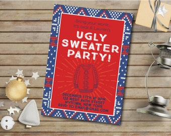 Ugly Sweater Party Invitation Digital Download Christmas Holiday Festive Invite