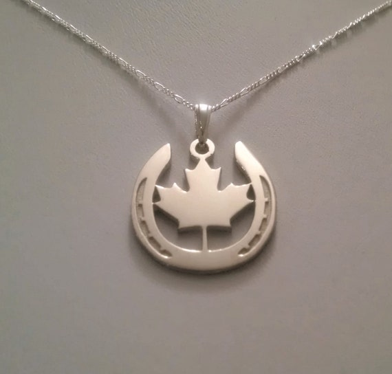 Oh canada sterling silver horse shoe maple leaf pendant oh canada sterling silver horse shoe maple leaf pendant necklace made in canada horse jewelry aloadofball Gallery