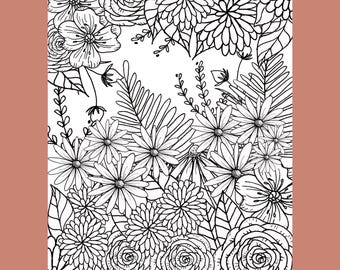 Flower Coloring Page, Adult Coloring Page, Coloring Page, Printable Coloring Page, Floral Coloring Page