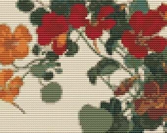 Nasturtium Mini Cross Stitch Kit, Floral Counted Cross Stitch, Embroidery Kit, Art Cross Stitch, Tanigami Konan