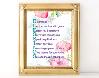 Blessings Watercolor Print / Every Day Spirit / Inspirational Quote / Wall Art / Words of Wisdom / Encouraging Quote / Dorm Decor