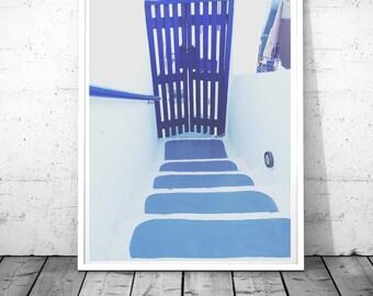 Door Photography, blue door print, Santorini print, Blue wall art, traditional Greek door wall art, nautical decor, Door digital download
