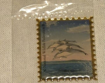 National Wildlife Federation Metal Dolphin Stamp